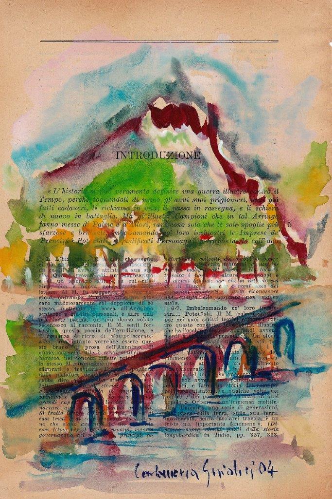 Lecco – Studio manzoniano cm 14X21 Acquarello 1991 su carta pag. libro Promessi Sposi ediz. 1938